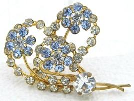 Vintage Gold Tone Blue Clear Rhinestone Heart Flower Pin Brooch - $29.70
