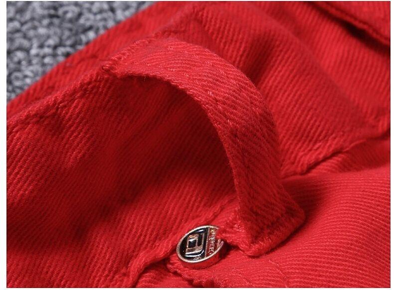 Fashion red jeans for men top quality moto biker jean male denim pants printed s