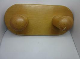 Wooden Wall Coat Rack Hanger 2 Knobs Solid Wood Golden Oak Finish Metal ... - $10.64