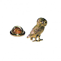 gold owl of athena with clip on rear Pin ,Badge / tie pin unisex gift