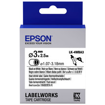 3mm Black on White - Epson LK-4WBA3 Heat Shrink Tube Tape Cartridge (Pac... - $66.99