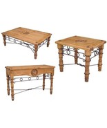 Star Iron Living Room Table Set Sofa End Coffee Real Wood Rustic Cabin L... - $732.59