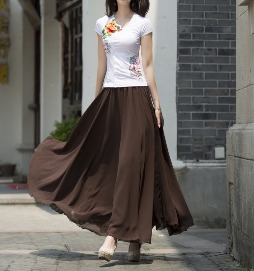 Women Chiffon Maxi Skirt Black White Brown Maxi Skirts Bridesmaid Chiffon Skirts