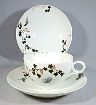 Haviland Limoges Cup & 2 Saucers Porcelain Butterfly & Ivy Smooth Edge A... - $12.00