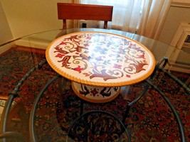 Pier 1 Oralia Pedestal Cake stand earthenware floral design Fall Colors EUC - $27.72