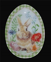 Madison Studio Floral Brown Bunny Checkered Border Egg-Shaped Glass Plat... - $28.99
