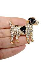 "1.75"" Wide Clear Rhinestones Black & White Enamel Terrier Dog Brooch Animal Pin  - $12.35"