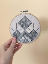 "Geometric Line Drawing - Hand-Embroidered Wall Hanging - 5"" Embroidery H... - $34.50"