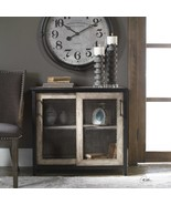 FRENCH COUNTRY WOOD & WIRE SLIDING DOOR CONSOLE CABINET RUSTIC AGED FIN... - $745.80