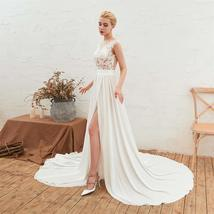 Women's Long Halter Floral Embroidered Tulle Wedding Dress Bridal Gown image 4