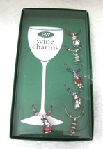 MIB Christmas Wine Charms Santa Snowman Soldier Tree Fun Holiday T80 - $18.32