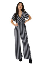 Q68 - Ladies Girly Black Stripe Short Sleeve Cropped Wide Leg Jumpsuit (... - $22.88