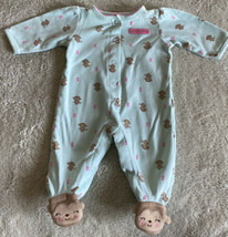 Child Of Mine Girls Teal Pink Hearts Brown Monkey Pajamas 0-3 Months - $5.00