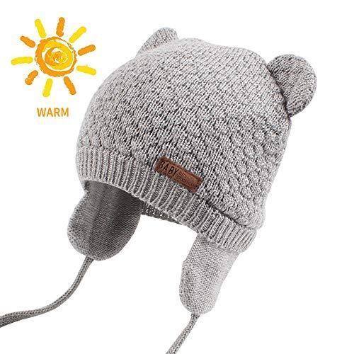 Baby Beanie Hat for Winter with Earfalp Cute Bear Kids Toddler Girls Boys Warm K