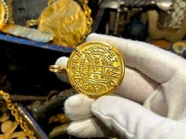 "PERU 1708 8 ESCUDOS ""1715 FLEET"" 22kt PLATED PIRATE GOLD COINS JEWELRY T... - $299.00"