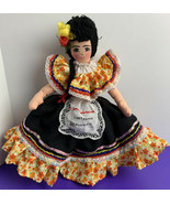 "Cartagena Colombia Souvenir Doll Girl in Flower Dress Soft Cloth 12"" Wooden Base - $19.79"