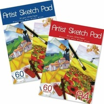 A4  Artistic Sketch Pad 80GSm 60 Sheets White Paper Drawing Sketching Cr... - $3.90