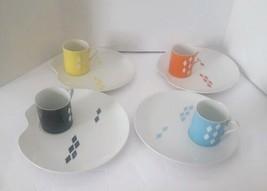 Mid Century Modern Royal Carlton Snack Plate & Mug Set of 4 Diamond - $98.99