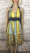 Moulinette Soeurs Anthropologie Dress Halter Electric Age Yellow Blue Si... - $34.65