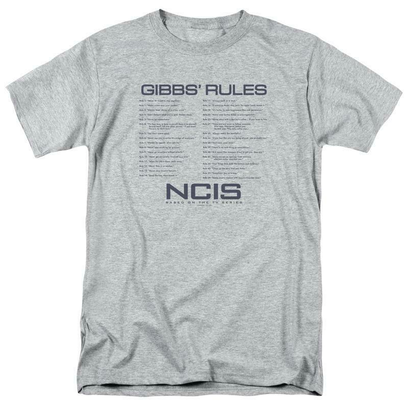 NCIS TV Drama series Gibbs Rules Graphic heather gray cotton T-shirt CBS1608