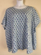 Woman Within Plus Size 5X (38/40) Blue Geometric Pattern T-Shirt Short S... - $17.39