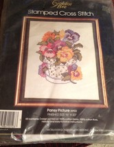 """Stamped Cross Stitch Kit Pansy Picture #20103 16""""x20"""" Unopened Golden Bee  - $22.28"""