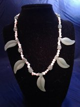 "18"" Handmade Jade Leave and Pink Pearl Beaded Necklace Z154 - $50.00"