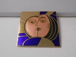 "Vntg 1980's*~1 1/2"" sq Evil Queen Mirror Image~Enamel Cloisonne w/GP~Pin... - $15.00"
