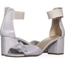 White Mountain Evie Criss Crossed Ankle Strap Sandals 970, Silver/Fabric... - $29.75
