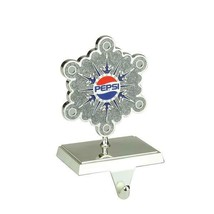 """6.5"""" Silver Plated Pepsi Snowflake Christmas Stocking Holder with Europe... - $34.99"""