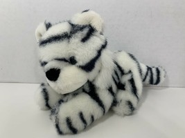 "Fiesta 1989 vintage 9100 plush 8"" white black tiger blue eyes stuffed an... - $14.84"