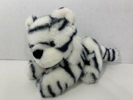 "Fiesta 1989 vintage 9100 plush 8"" white black tiger blue eyes stuffed animal toy - $14.84"