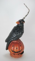 Ceramic Crow Wearing Witches Hat Sitting on Pumpkin Halloween Tabletop D... - $24.70