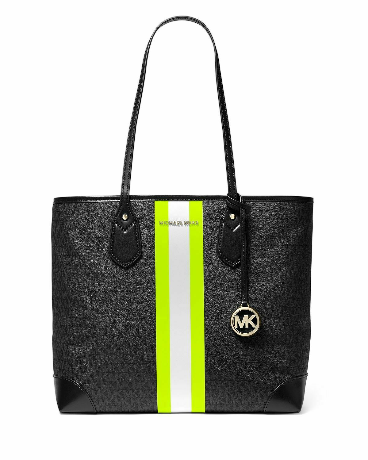 MICHAEL Michael Kors Eva Large Tote - Black/Neon Yellow