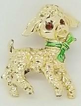 Vintage Lamb Pin Gold Tone Brooch Red Rhinestone Eyes Green Enamel Bow  - $12.86