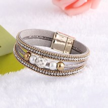 Fashion Leather Magnet Buckle Crystal Rhinestone Imitation pearls Charm ... - $12.64