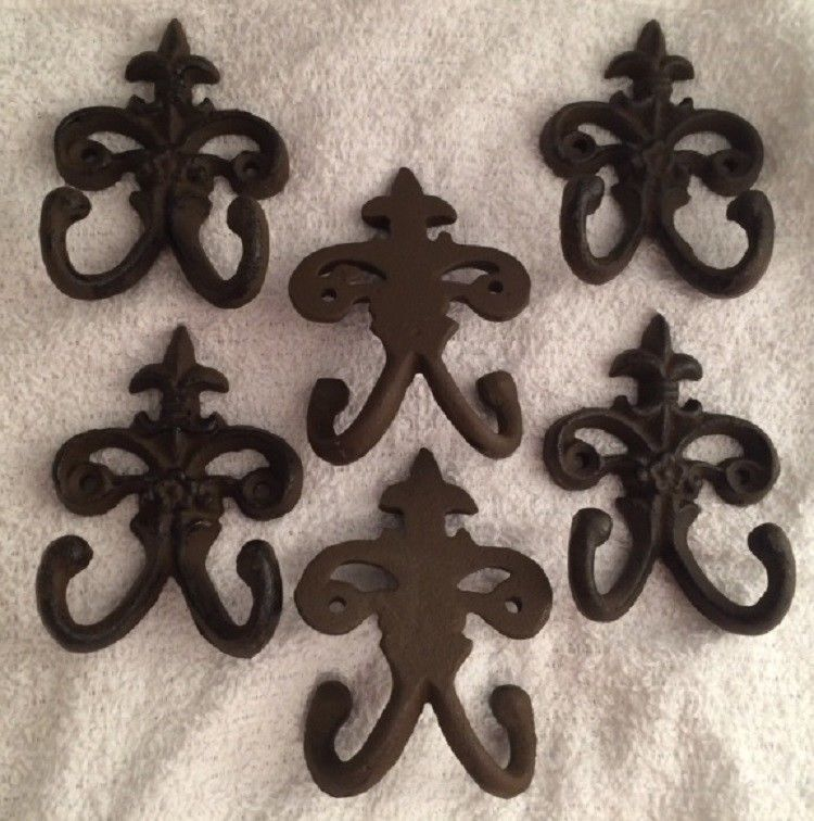 Primary image for Cast Iron Fleur De Lis Double Wall Hooks (Set of Six) Home Decor 0170-01554