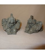 "Pair Elephant Figurine Gray Flat backs 2"" Trunk Up Resin - $9.99"