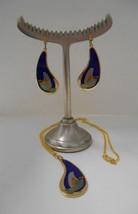Signed Laurel Burch Set~Swallows~New GP Necklace + Hook Pierced Earrings - $50.00