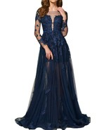 Pron Dress Long Sleeves Lace Appliqued V Neck Empire Waist Formal Party ... - $132.99