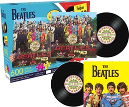NEW THE BEATLES  DOUBLE SIDED SGT PEPPER RECORD ALBUM JIGSAW PUZZLE 600 ... - $16.99