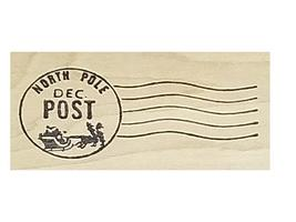North Pole Christmas Postage Wood Mounted Rubber Stamp