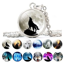 Wolf with Moon Necklace 18mm Snap Button Glass Cabochon Necklace Pendant... - $9.69