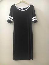 Lularoe Julia T Shirt Varsity Jersey Black Midi Dress Size Small S - $39.57