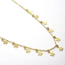 18K YELLOW GOLD NECKLACE WITH PENDANT FLAT STARS STAR, 16.5 INCHES MADE IN ITALY image 3