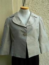 Armani Collezioni Blazer Cropped Swing Gold Textured Silk Jacket 6 Spring - $187.11