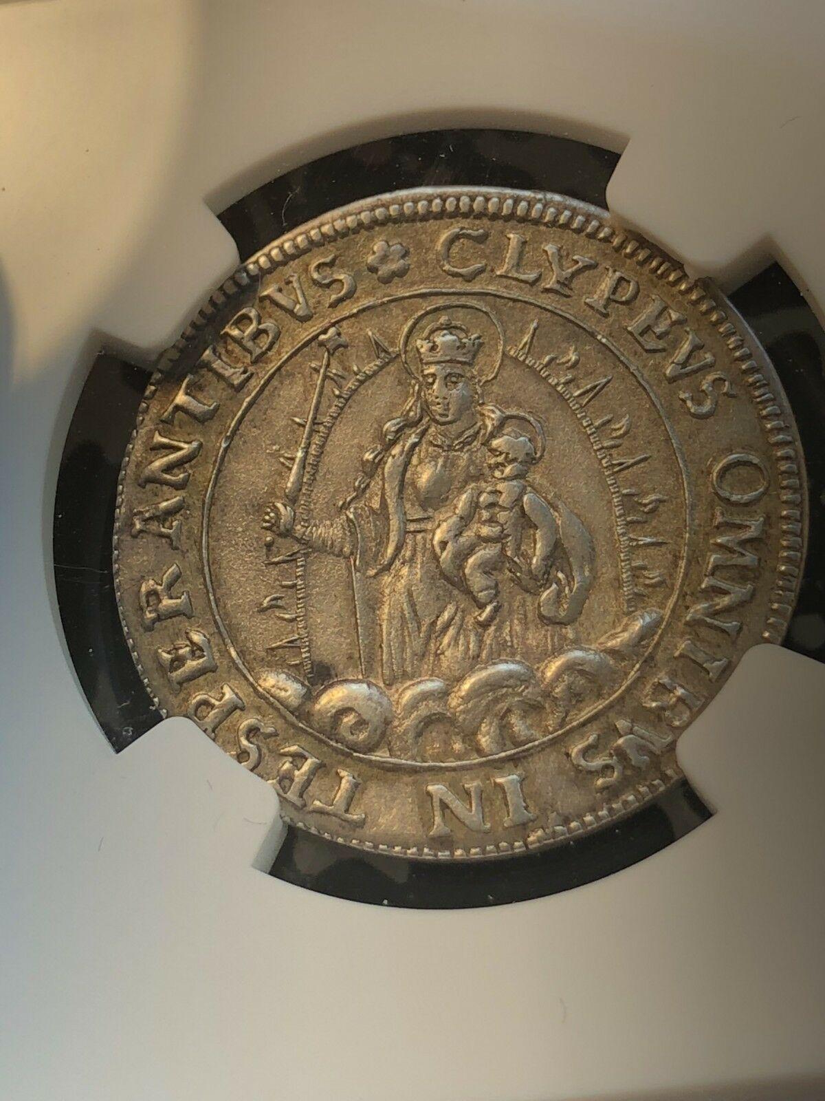(1623) Alemán Estados Baviera 1/6 Thaler de Plata ! NGC Au58 #G996 Madonna &