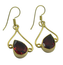 Red Gold Plated Glass exquisite Ruby CZ Designer Earring UK gift - $14.48