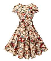 BI.TENCON Women's 1950s Vintage Cap Sleeve Apricot Floral Printed Retro ... - $31.56