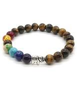 7 Chakra Stone Bracelet Tiger Eye Stone Natural Gemstone Round Beads Bra... - $7.10